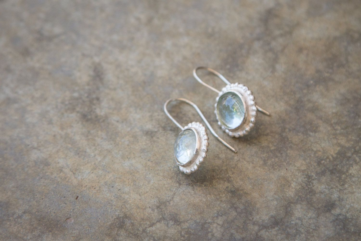 sterling silver aquamarine delicate earrings. March birth stone. Simple organic design. cocktail earrings. antique style. holiday gift. by TamyZurTachshit on Etsy