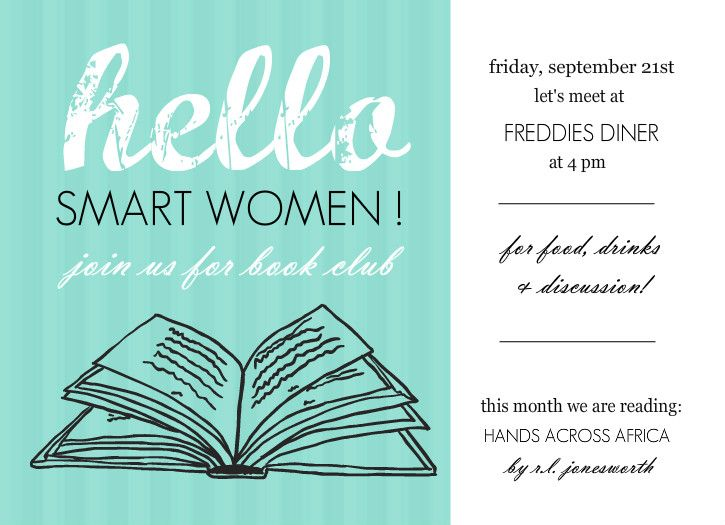 Turquoise Hello Book Club Invites by PurpleTrailcom Invitation