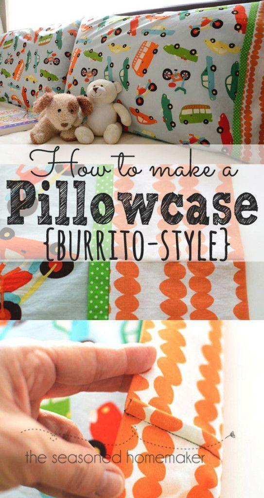How to Sew a Pillowcase - Burrito Style & How to Sew a Pillowcase - Burrito Style | Pillowcase pattern ... pillowsntoast.com