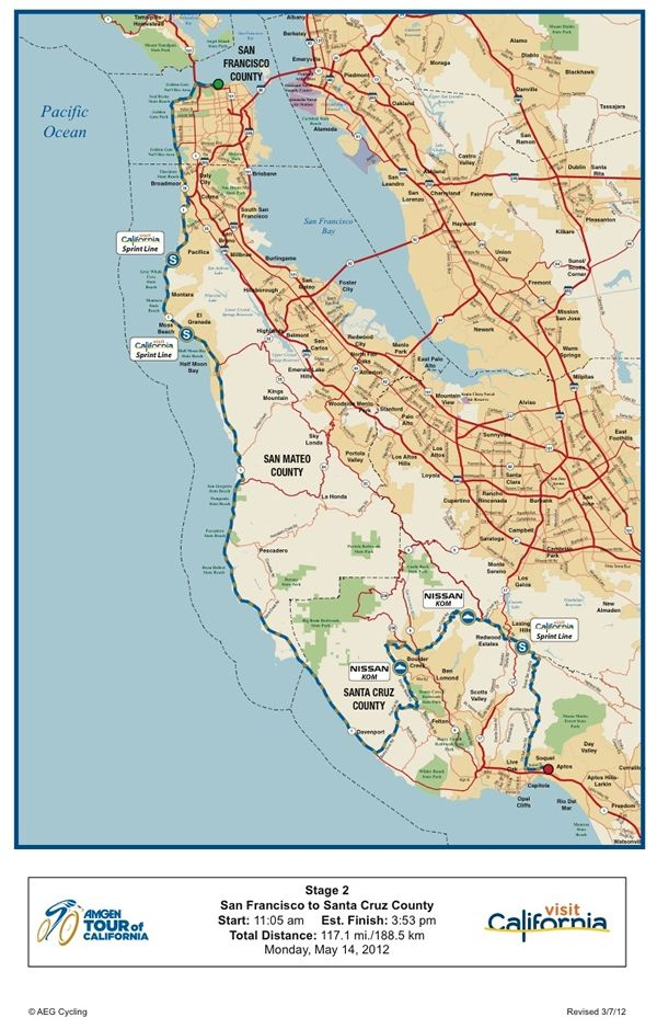 Tour of California 2012 Stage 2 Route Map Amgen Tour of California