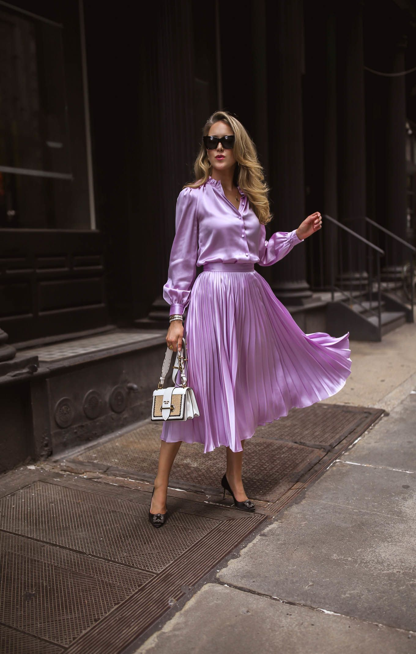 May Orton fashion blogger wears Co lilac silk blouse ...