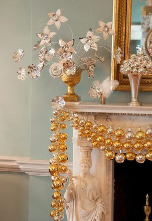 small ornaments strung together to create a lovely garland- suitable for hanging anywhere.