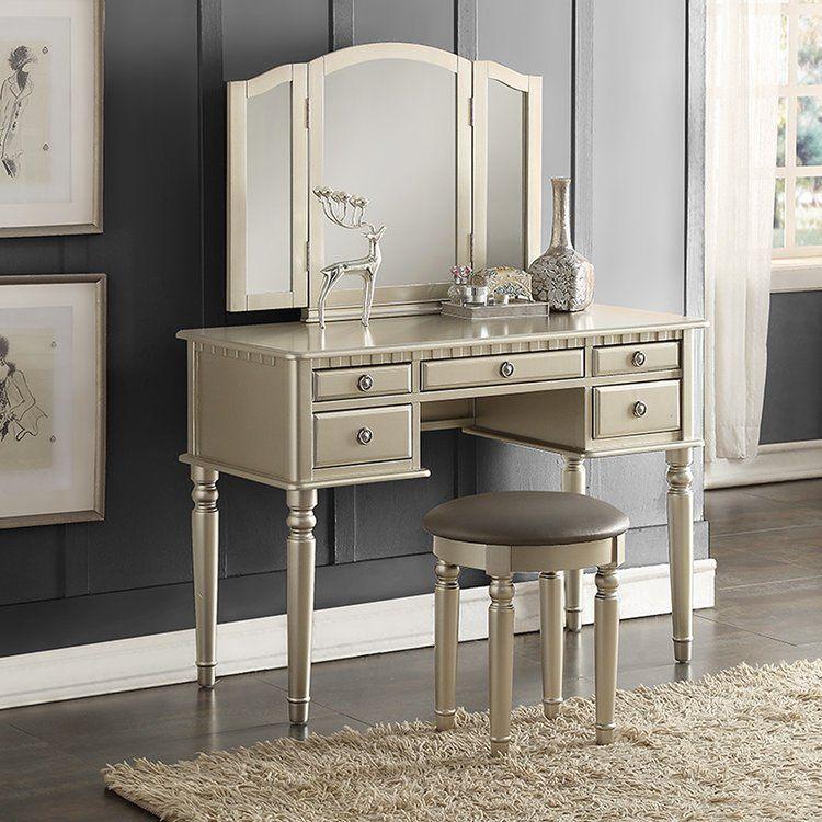 House Of Hampton Mccrea Vanity Set With Mirror Vanity Set With Mirror Vanity Table Set Bedroom Makeup Vanity