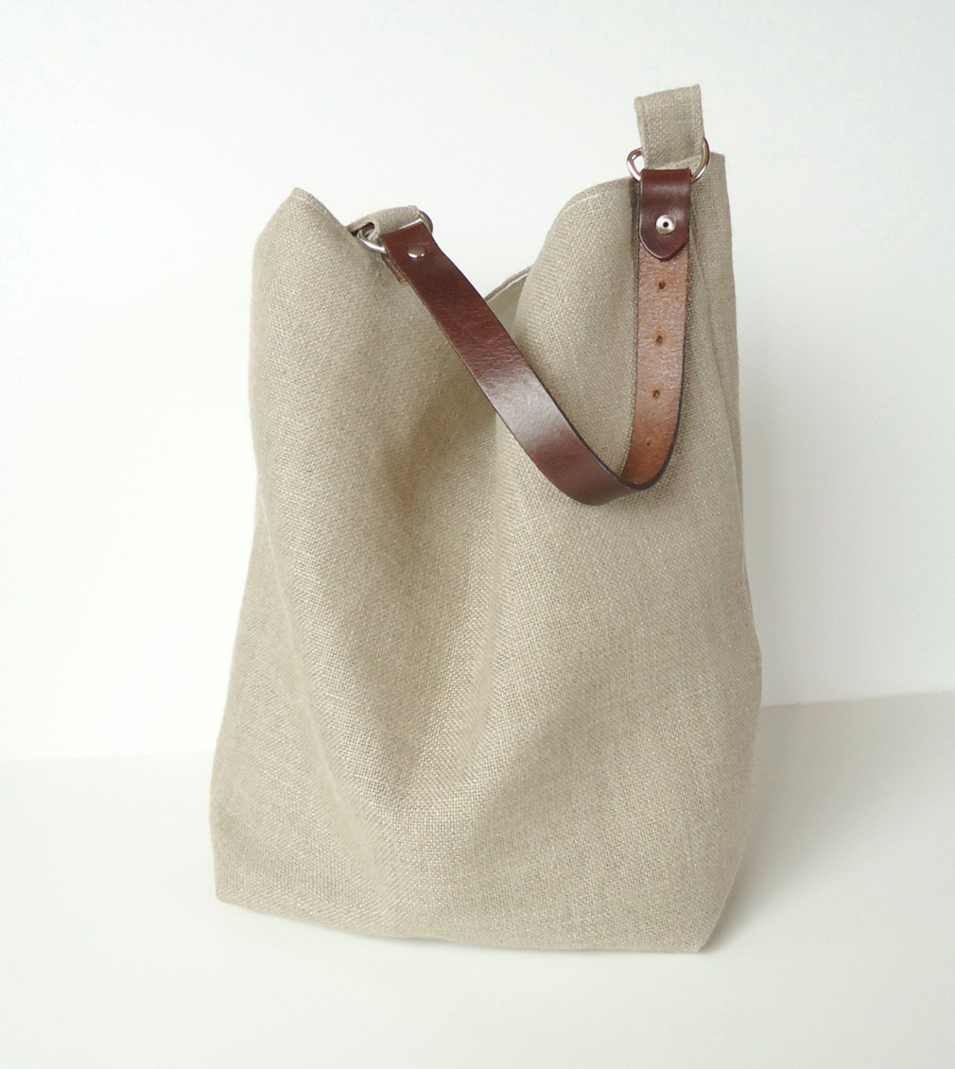 Large Natural Linen Hobo Bag - Bucket Bag | Hobo bags and Burlap