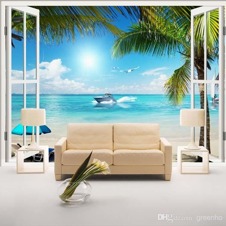 Window 3d beach seascape view wall stickers art mural for Beach window mural