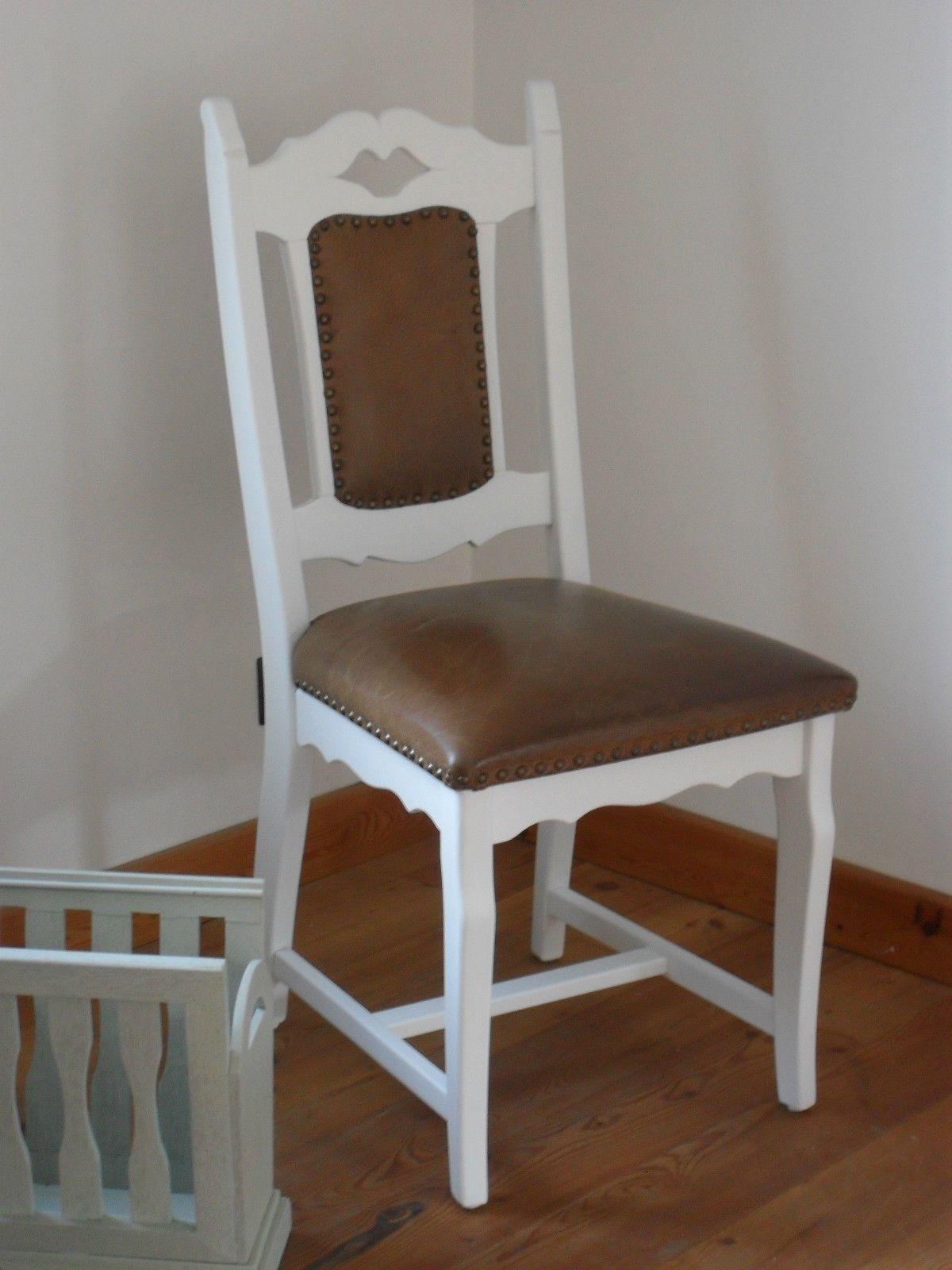 Weiß Shabby Massiv Möbel NietenEbay Leder Diy Stuhl 43R5jLA