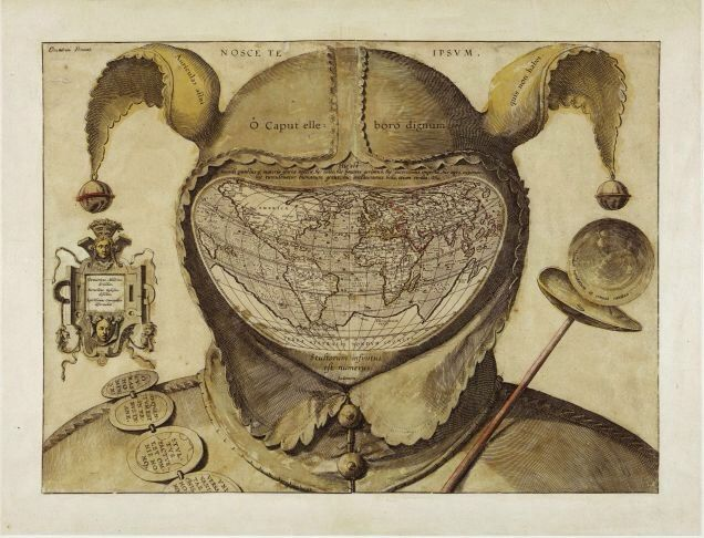 World Map Drawn in a Fool's Head, by an unknown artist, c. 1590