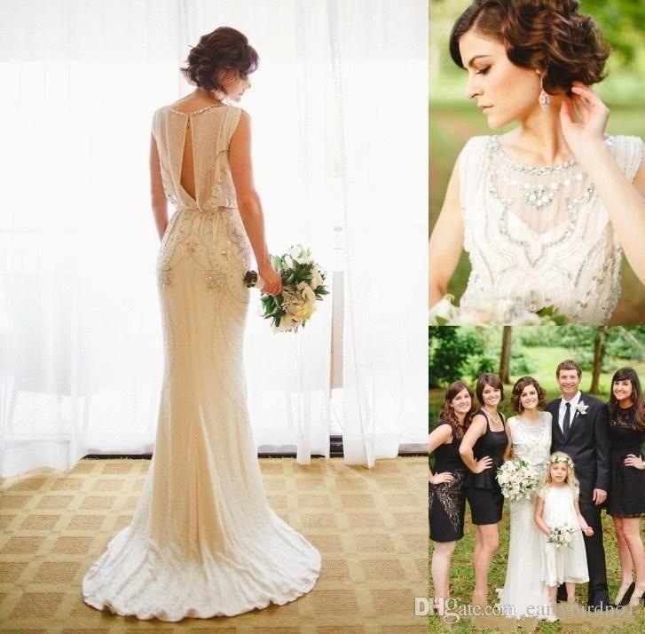 2017 Jenny Packham Wedding Dresses Crepe Sheath Bridal Gowns with ...