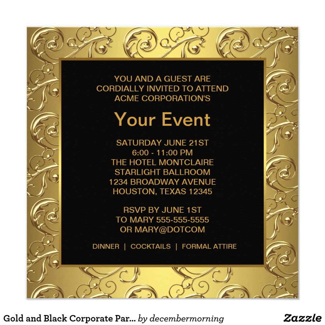 Gold And Black Corporate Party Event Invitation Zazzle Com