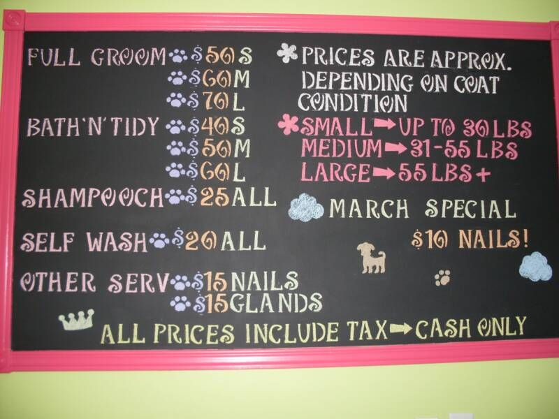Price board Dog grooming salons, Dog grooming business