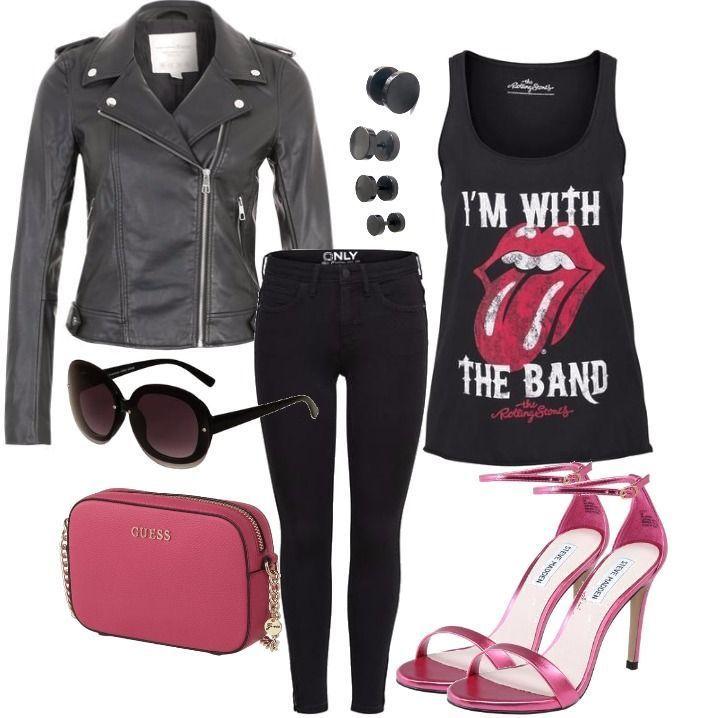 pink rock outfit outfit f r damen zum nachshoppen auf stylaholic frauen outfits pinterest. Black Bedroom Furniture Sets. Home Design Ideas