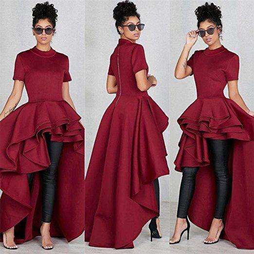 97cfa9bd482cb Doinshop Bodycon Dress Shirt Women Short Sleeve High Low Peplum  Asymmetrical Hem Top