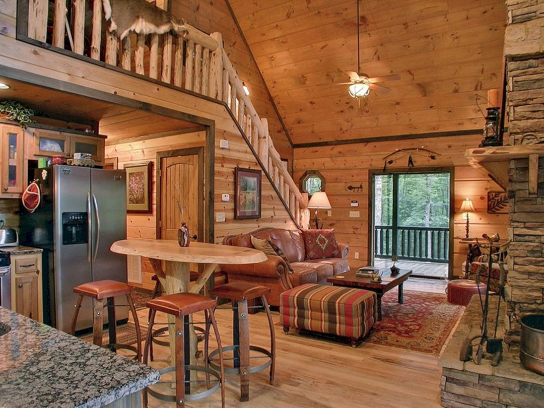 30 Rustic Cabin Style Decorating Ideas You Need To Have Cabin Interior Design Log Home Interior Small Cabin Interiors