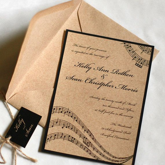 Music Wedding Invitation, Music Notes
