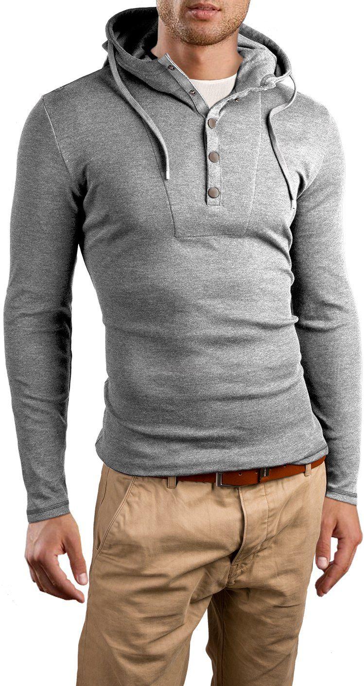 Grin&Bear Slim Fit Hoodie buttoned sweatshirt, GB120 at