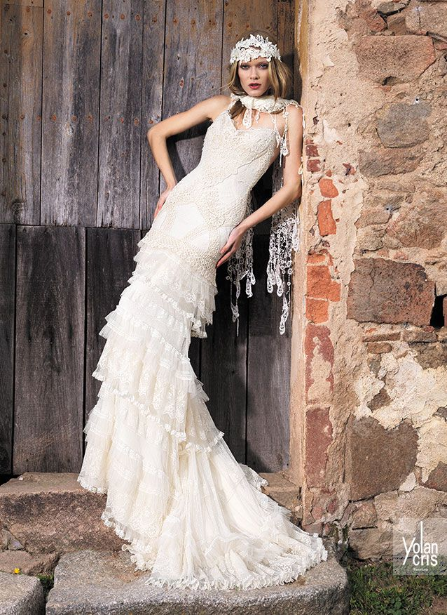 Vestiti Da Sposa Yolan Cris.01 11 With Images Boho Chic Wedding Dress Boho Style Wedding