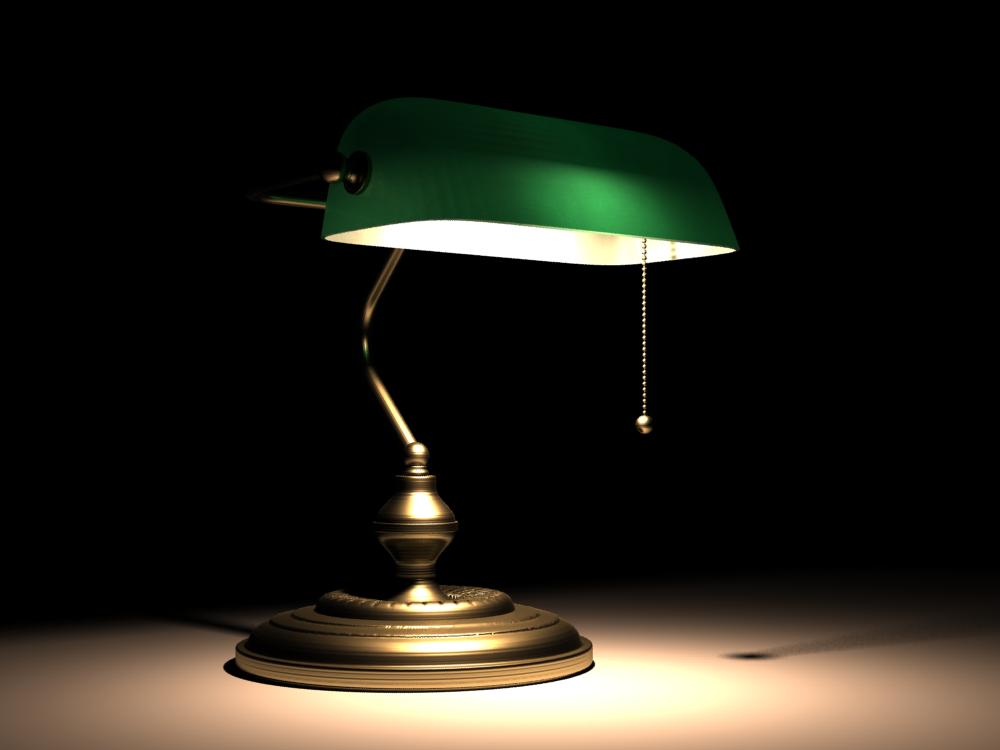 Lampe De Notaire Banquier Opaline Verte Avec Le Petit Cordon