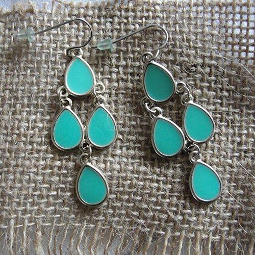 Oorhangers mintgroen druppels | earrings light green