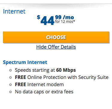 Charter Spectrum Spectrum Internet — Best Internet-Only Deal