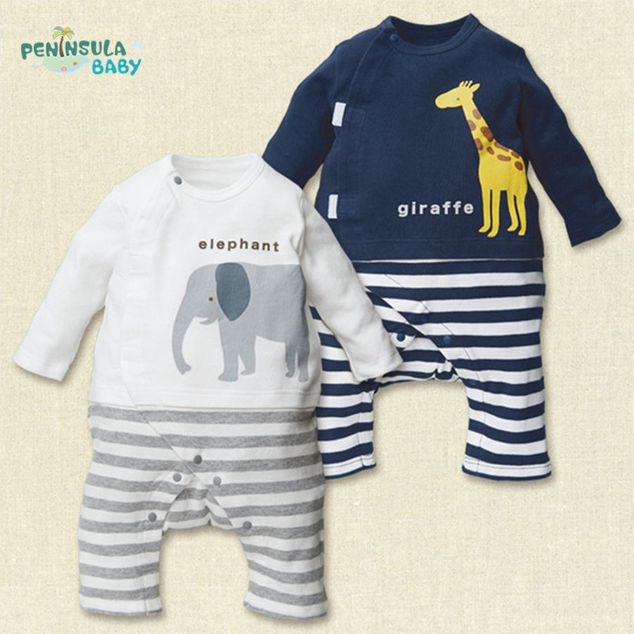Spring Cute Elephants Giraffes Baby Rompers Newborn Boys Girls