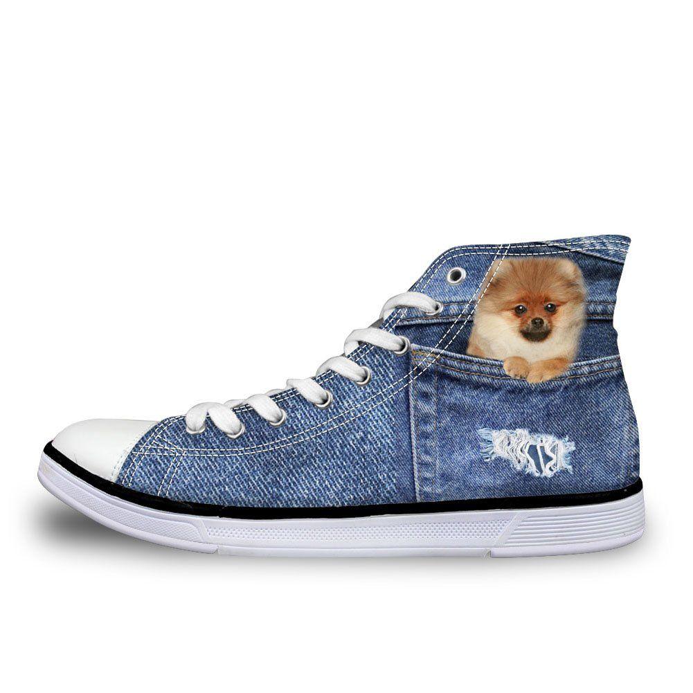 d18346b4bea8 Coloranimal Women Classic Canvas Shoes Cute 3D Pomeranian Prints ...