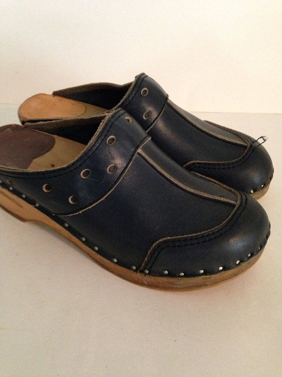 9b9e1b01d7ad Vintage Bastad Clogs Navy Leather Sweeden by Nogginsandnapes