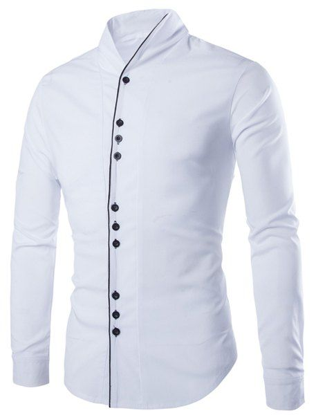 e8a92f312 Only US11.17, buy XL color block placket buttons design slimming stand  collar long sleeve trendy cotton blend shirt for men White at online long  sleeves ...