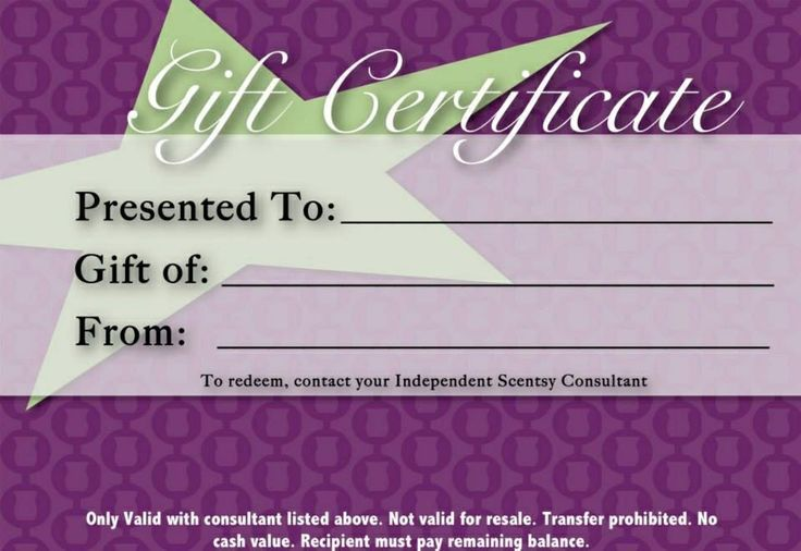 Gift Certificate Gift Certificate Template Corporate Gifts Scentsy
