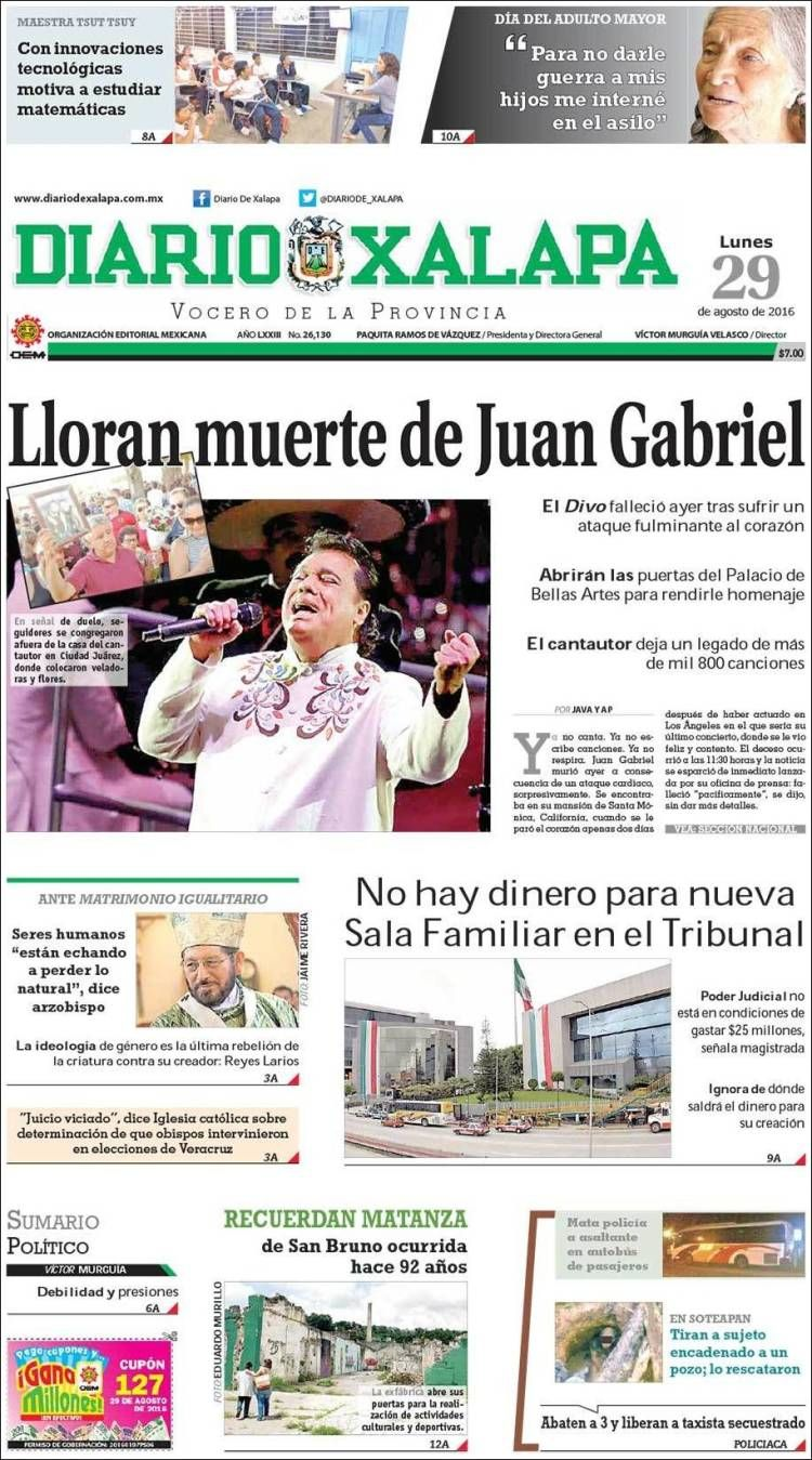 Juan Gabriel: Las portadas de México se rinden al divo de Juárez - Clases de…