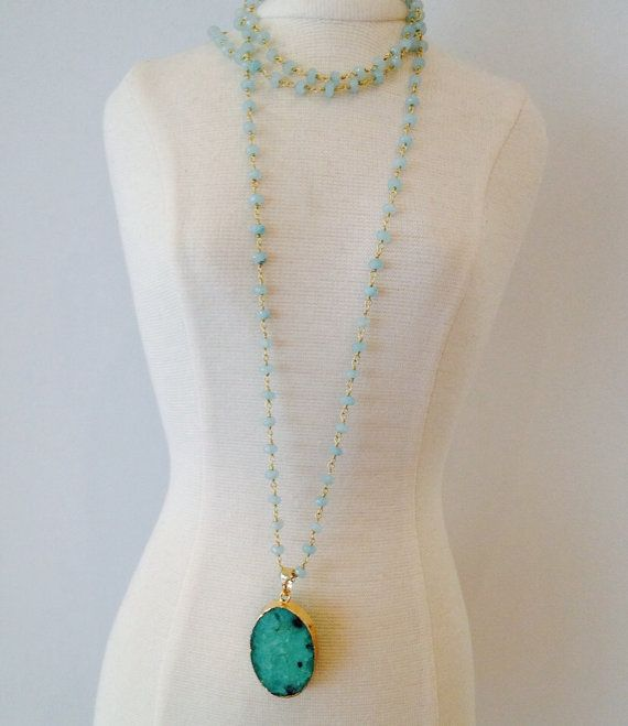 Mint green Chelsea necklace by MilaIvana on Etsy