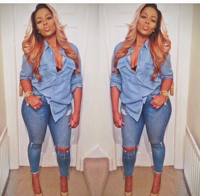 dfd24ef8bd1 Pretty Girl Swag Denim X Denim Jeans Ripped Shirt Dope Urban Streetwear  Fashion Style Trend Fashionista Sexy Black Beautiful Women Pammacb