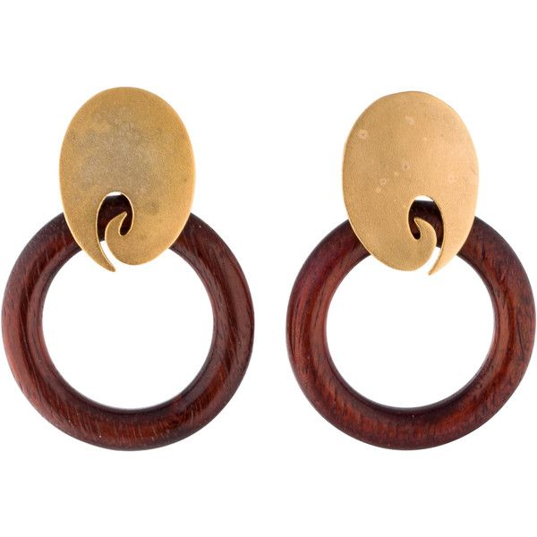 Pre-owned Stephen Dweck Wooden Hoop Earrings ($125) ❤ liked on Polyvore featuring jewelry, earrings, gold tone earrings, oval hoop earrings, pre owned jewelry, stephen dweck jewelry and oval earrings