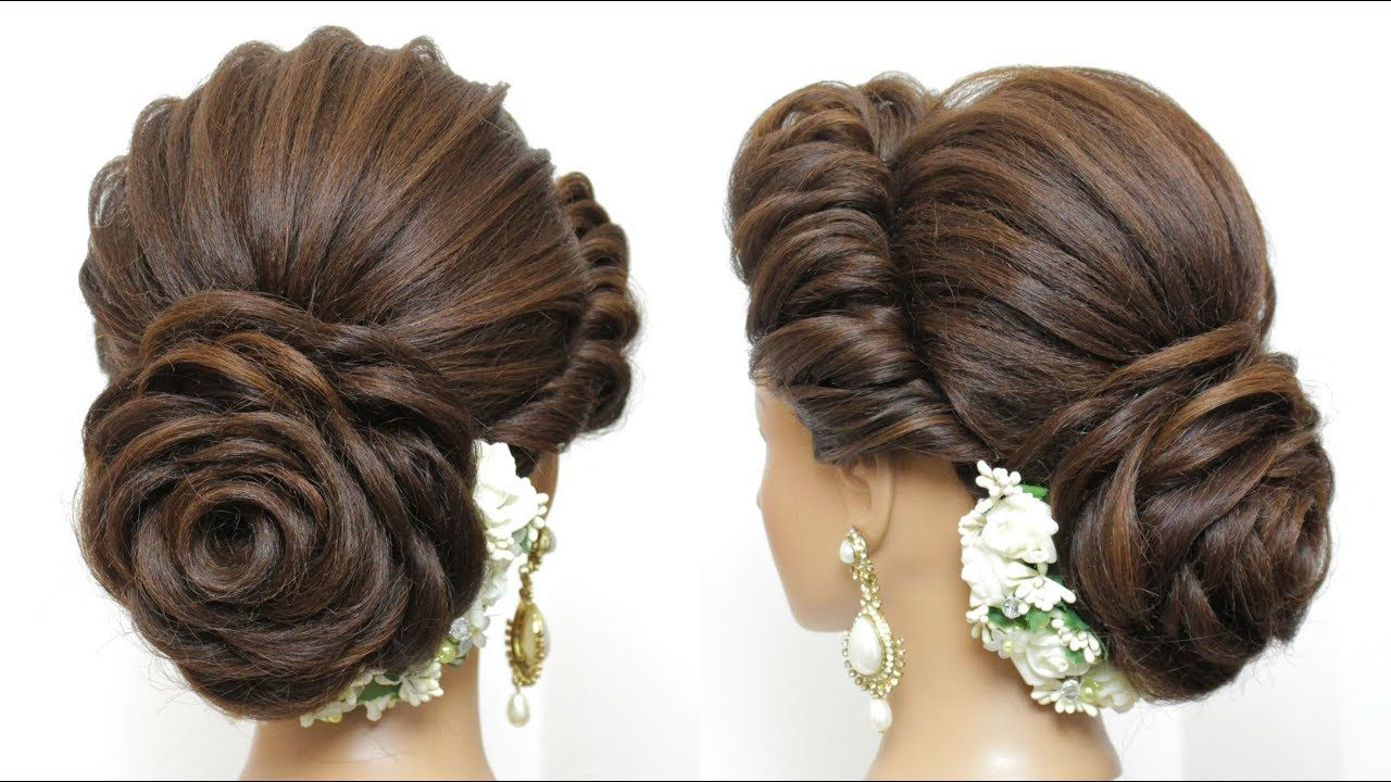 New Latest Hairstyle With Flower Bun. Bridal Updo For Girls And Women - YouTube | Bun hairstyles ...