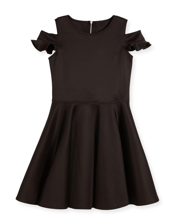 Cold-Shoulder Neoprene Fit-and-Flare Dress, Black, Size 8-16, Women's, Size: 14 - David Charles