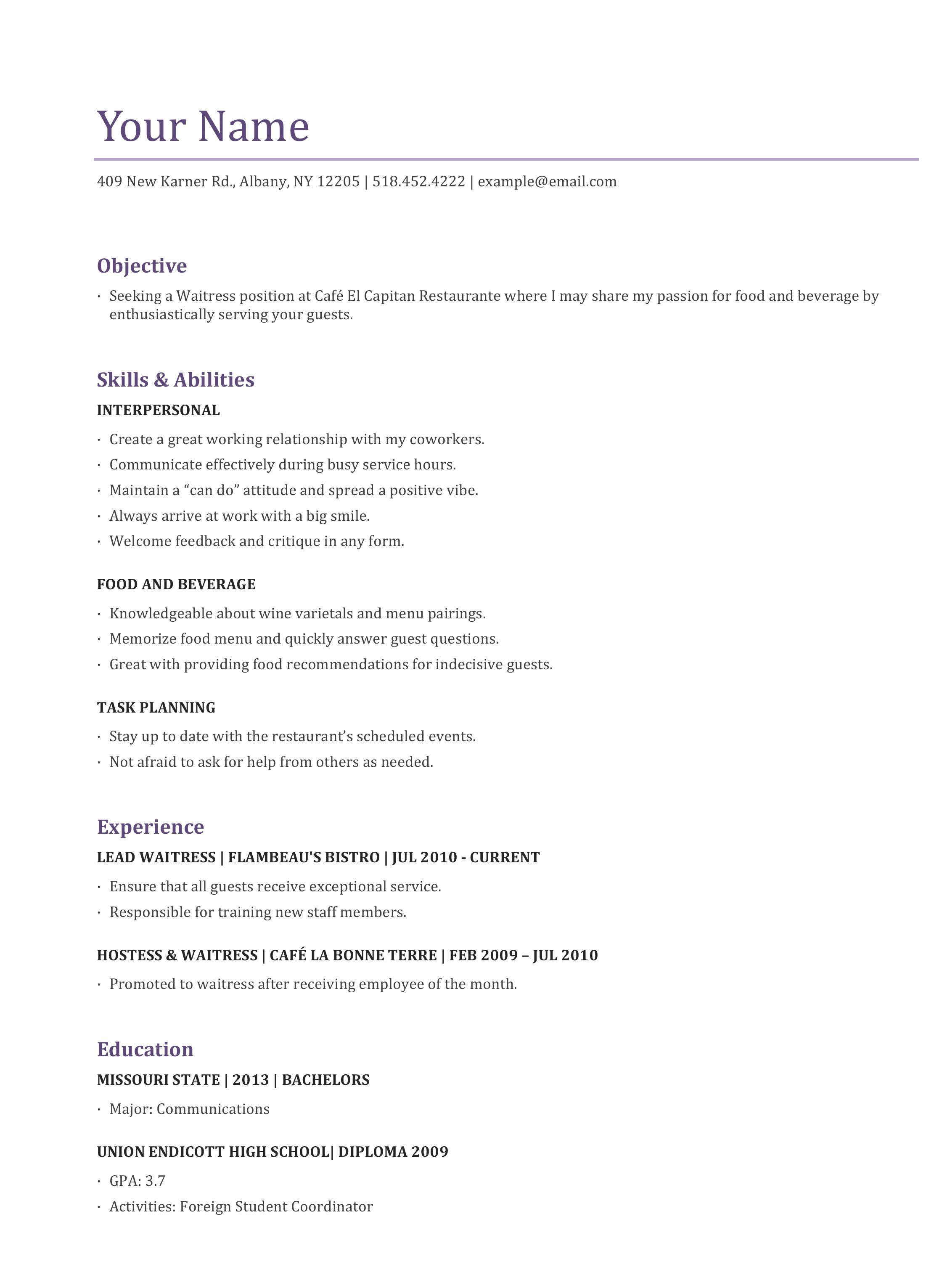 Server Job Duties For Resume Fine Dining Cover Letter Waitress