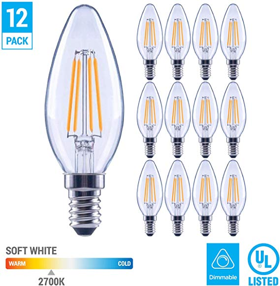 12 Pack 60 Watt Equivalent Led E12 Candelabra Base B11 Dimmable Clear Filament Vintage Style Light Bulb 2700k Wa In 2020 Fan Bulbs Vintage Style Light Led Light Bulb