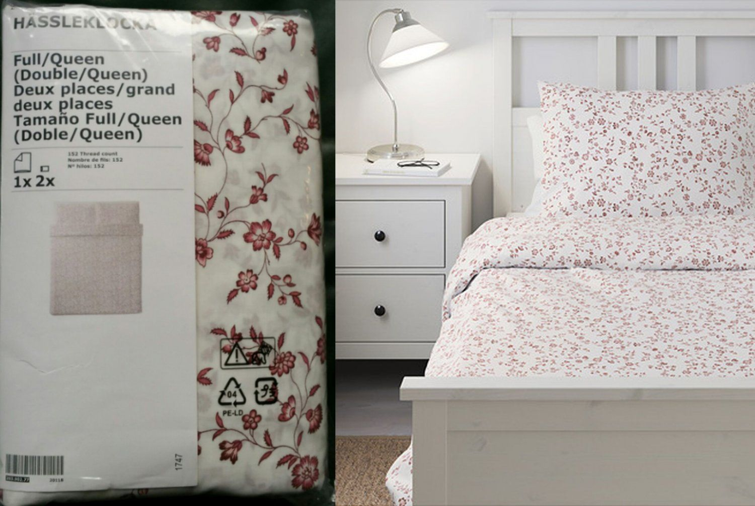 Ikea Hassleklocka Queen Full Duvet Cover And Pillowcases Set Floral Red White Colonial Hassleklocka Ikea Duvet Ikea Home Full Duvet Cover