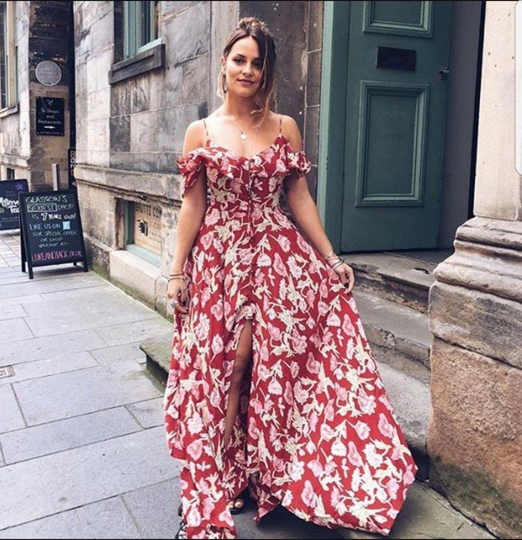 Topshop Red Hanky Hem Floral Print Long Flowing Dress UK 6 8 10 12 ...