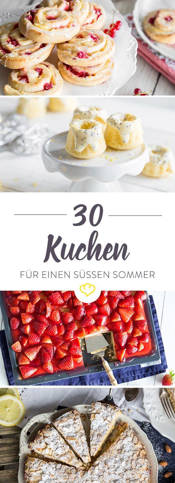 Sommerzeit ist Kuchenzeit ist Obstkuchenzeit. Erdbeerboden, Johannisbeerstreusel oder Zitronenrolle - 30…