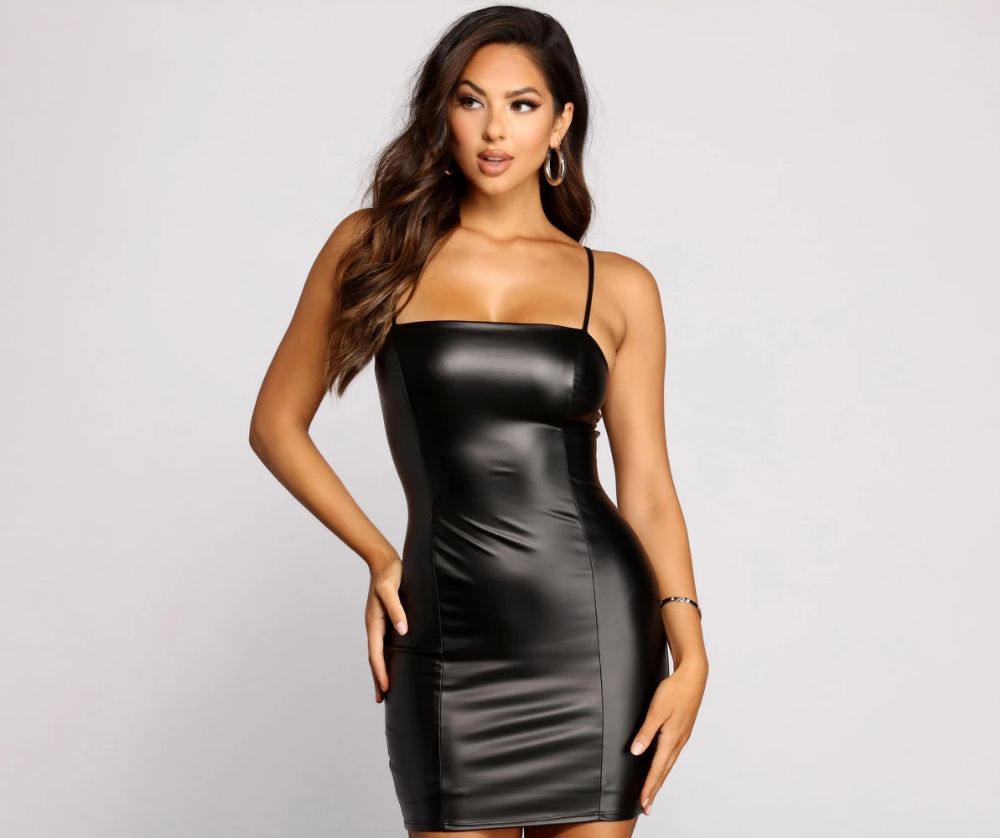 Sleek And Sultry Faux Leather Mini Dress Leather Mini Dress Leather Dress Outfit Leather Dress Women [ 838 x 1000 Pixel ]