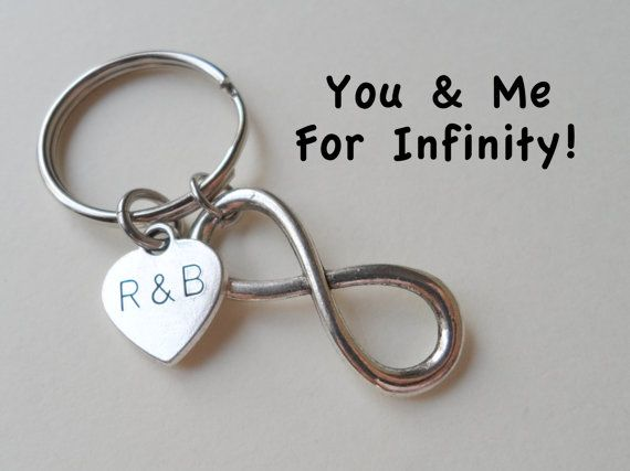 Infinity symbol keychain gift couples anniversary gift for