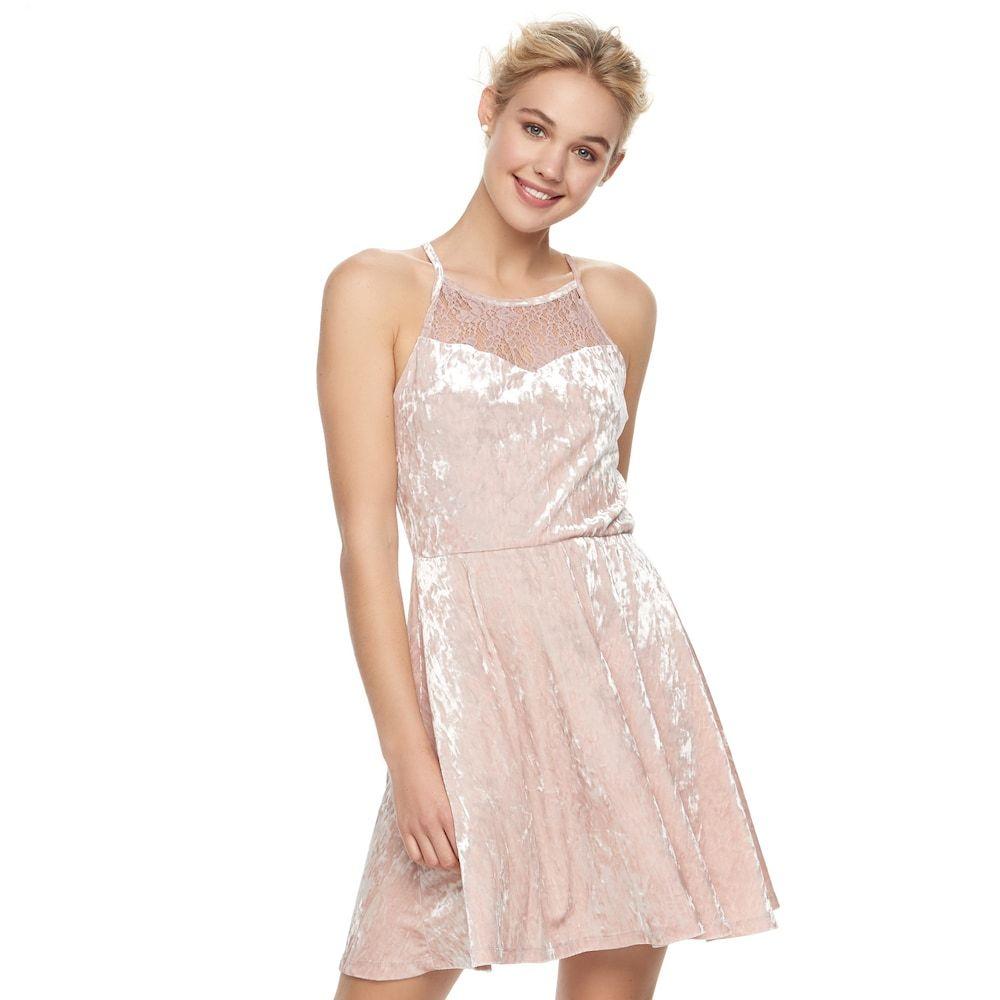 23635247682 Juniors  Lily Rose High Neck Velvet Skater Dress