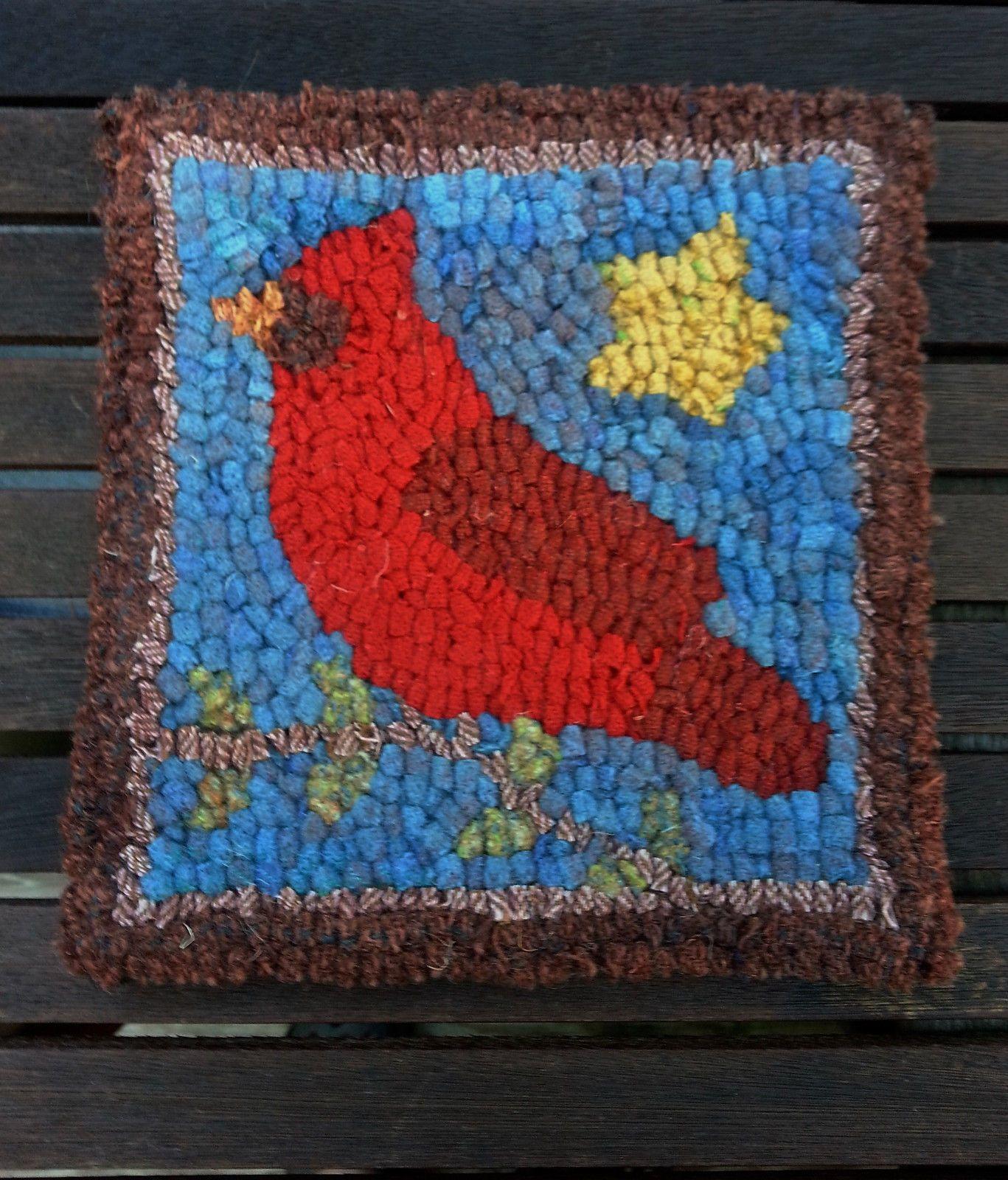 Primitive Hooking Kits 157030: Cardinal On Branch Primitive Rug Hooking Kit  With #8 Cut