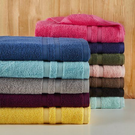 Mainstays Solid Performance Towel Blue Towel Set Cotton Towels