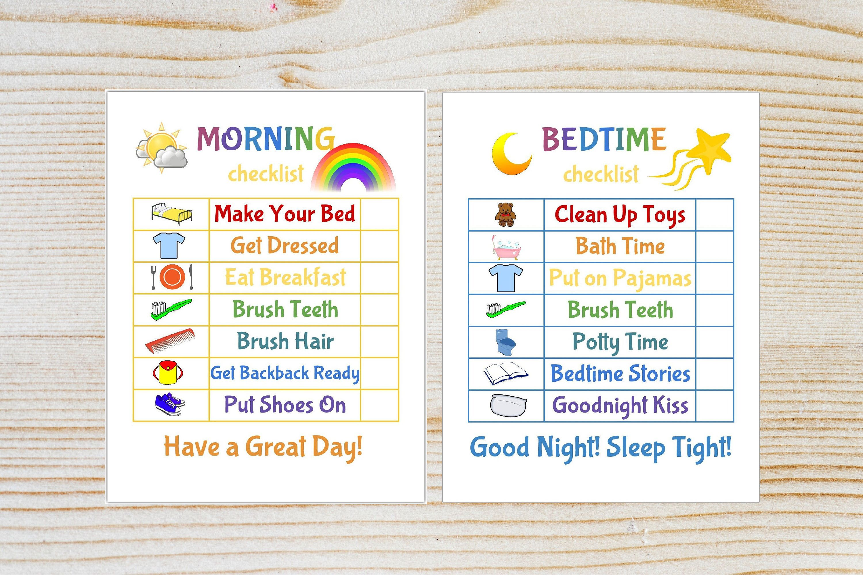 Kids Morning Bedtime Checklist Printable Chore Chart Kid