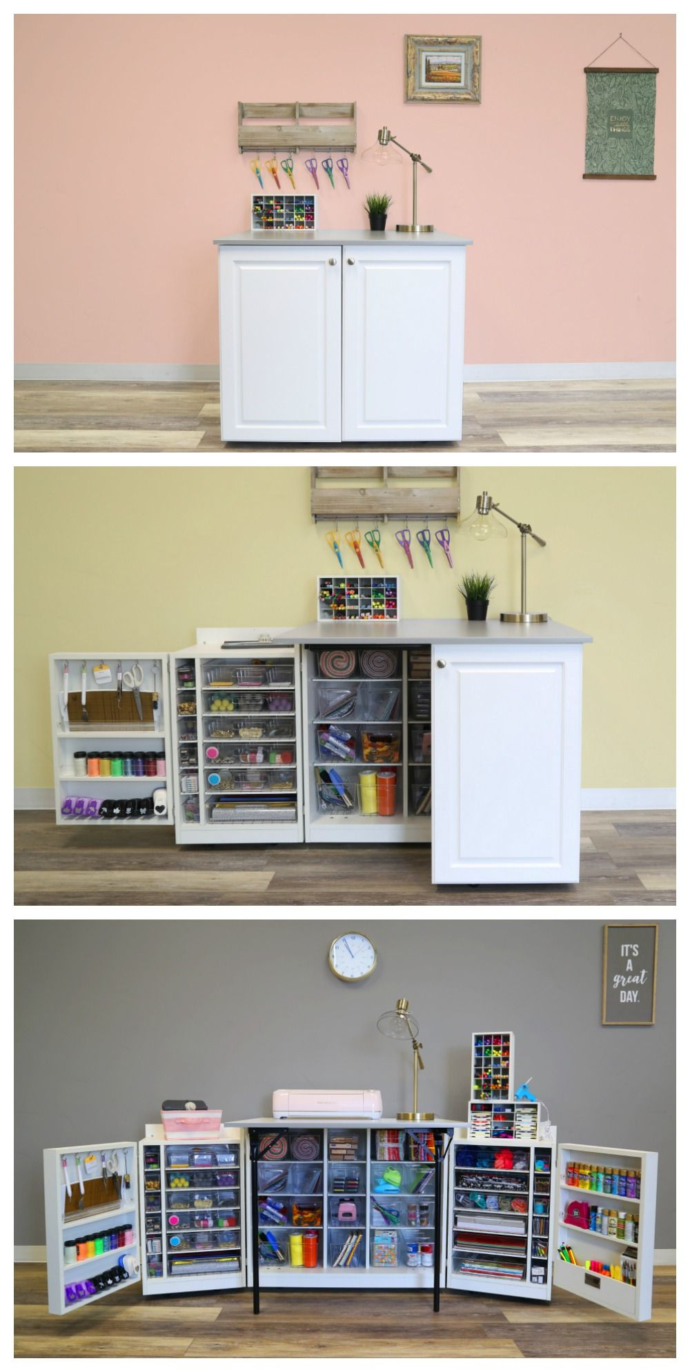 Conveniently Store All Your Supplies In This Simple Fold Up Table Craft Room Storage Craft Storage Ideas For Small Spaces Craft Storage Cabinets