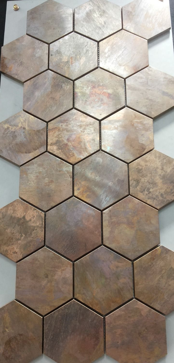china hexagonal copper wall tile in bronze brushed for kitchen