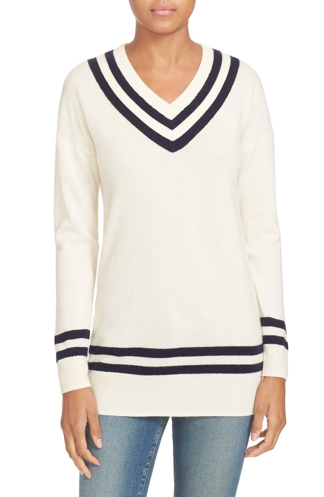 SALE ALERT // ivory v-neck summer sweater with navy varsity ...