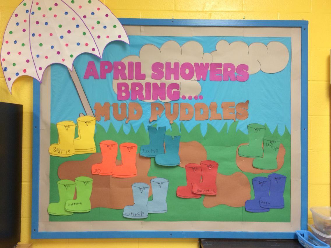 Spring Preschool Bulletin Board April Showers Bring