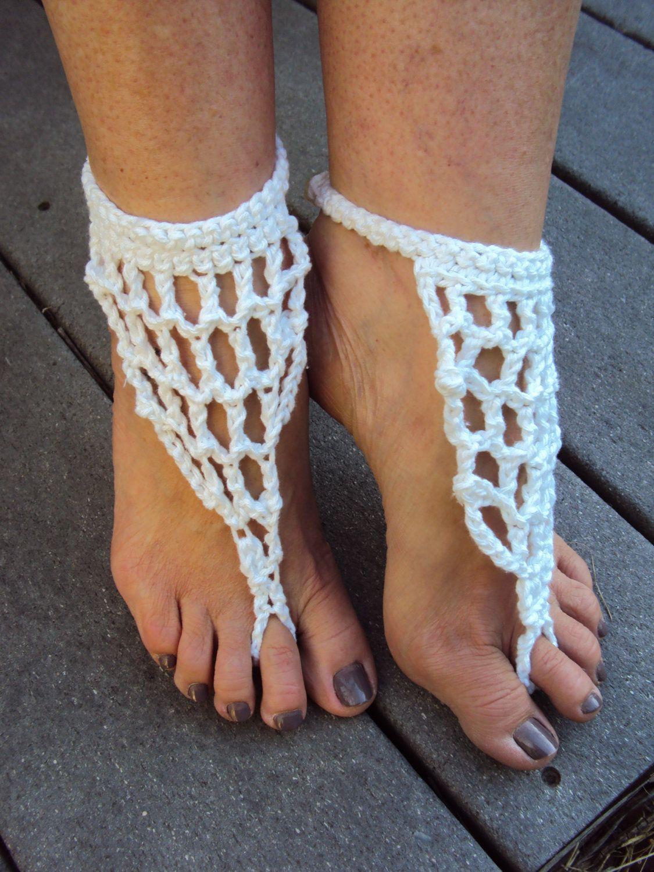 Beach wedding foot jewelry  White Bridal Barefoot Sandals Yoga Crochet Sandals Bohemian Gypsy